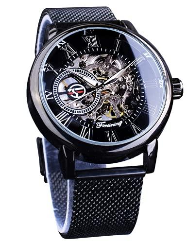 FORSINING Black Mechanical Watch for Men Minimalist Retro Design Staempunk Mechanical Skeleton Wrist Watch Transparent Business Mesh Band Watch