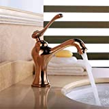 <span class='highlight'><span class='highlight'>Lalaky</span></span> Taps Faucet Kitchen Mixer Sink Waterfall Bathroom Mixer Basin Mixer Tap for Kitchen Bathroom and Washroom Full Copper Brown Ancient Antique Raised Single Hole Quick Opening