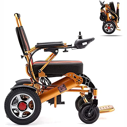 Sillas de ruedas eléctricas plegables, silla de ruedas eléctrica ligera para todo terreno, scooter, silla eléctrica de doble motor, 12 A, 15 km, adecuada para todas las edades con discapacidades Parap