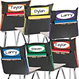 Really Good Stuff Grouping Chair Pockets – Set of 6 - Black with Colored Piping and Name Tag – Classroom Chair Organizer Keeps Students Organized and Classrooms Neat -Black with Piping in 6 Colors