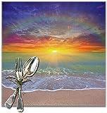 MAY-XCustom Mantel Individual,Escena Agradable De La Puesta del Sol sobre El Mantel del Arco Iris, Elegantes Esteras De Comedor para La Decoración del Restaurante Set of 4,30x30cm