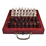 MIAOGOU ajedrez Internacional Ajedrez Retro Chino Pequeño Conjunto De Ajedrez Tallado Resina Ajedrez Chessman Terracotta Guerreros Ajedrez Calidad Material De Madera