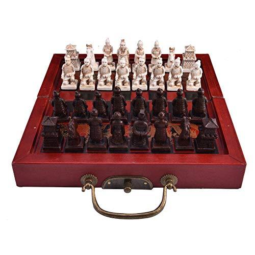 aheadad Juego de ajedrez de madera, juego de ajedrez de viaje, pequeño juego de ajedrez retro Dinastia Ming E Qing Guerrieri Terracota Chinos Ajedrez Juego Plegable para Niños Todas las edades
