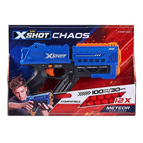 XShop Meteor Pistolen, 36282, Blau, 12 Kugeln aus Schaumstoff