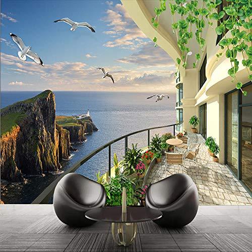 Fotobehang 3D Zeezicht Kamer Stereo Scenery Tv Achtergrond Muur Woonkamer Wandruimte Uitbreiding Muur Papier Home Decoraties 200cm (W) x 140cm (H)