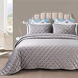DriftAway 3 Piece Velvet Quilt Set Bedspreads Coverlets Cover Prewashed Queen Silver Gray