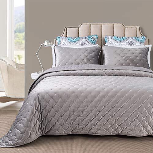 DriftAway 3-teiliges Bettwäsche-Set aus Samt, Tagesdecke, Bettbezug, vorgewaschen, Queensize-Größe, Silbergrau