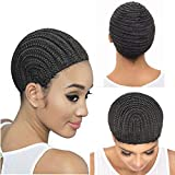 Meiliprotea Crochet Corrow Braid Wigs 1PC Middle Size for Making Wig Durable Stable Black Easier Sew in Crochet Wig Caps for Making Wigs(M)