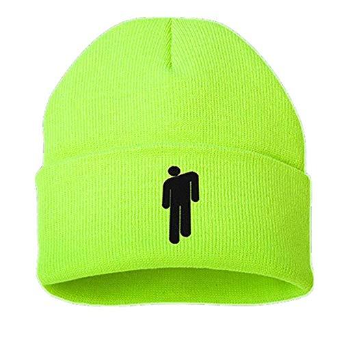 Billie Eilish Gorro de algodón Casual para Hombres, Mujeres, Gorro de Invierno de Punto, Gorro de Hip Hop sólido, Gorro Unisex para Deportes de Invierno (Verde Fluorescente)