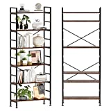 CosyStar 6-Tier Adjustable Tall Bookcase, Rustic Wood and Metal Standing Bookshelf, Industrial Vintage Book Shelf Unit, Open Back Modern Office Bookcases