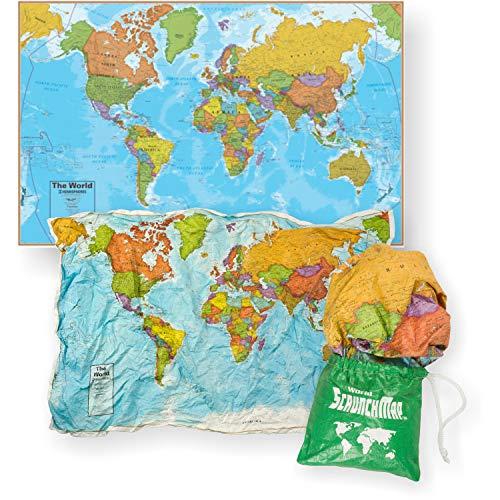 Waypoint Geographic World ScrunchMap - Up-to-Date & Easy to Store Scrunch Design with Storage Bag (24