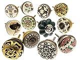 Mango Tree TM - Pomos de cerámica para armarios, 12unidades (MG-263), vintage, mezclados
