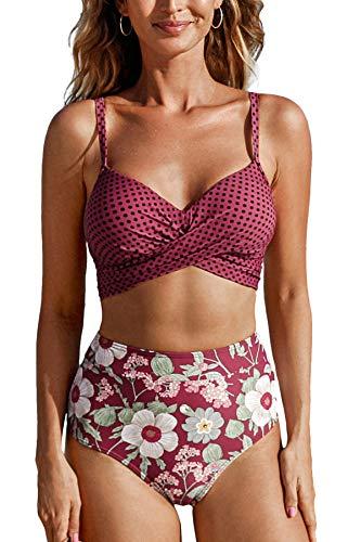 CUPSHE Conjunto de Bikini para Mujer de Talle Alto Floral Anudado Twist Traje de Baño de Dos Piezas, XS