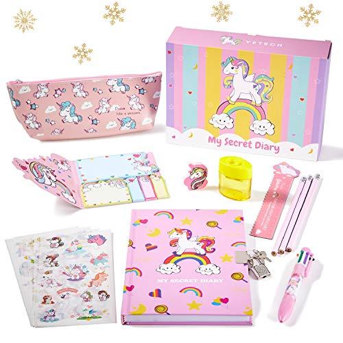 Yetech Unicorn Briefpapier Set - Unicorn Abschließbares Notizbuch, Geburtstagsgeschenk Einhorn Geschenke für Mädchen Alter 4 5 6 7 8 9 10 11 Jahre alt