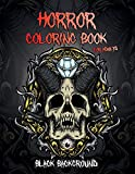 Horror Coloring Book – Black Background: Midnight Edition Halloween Coloring Book for Adults