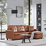 Pandaa Comfortable Convertible Sectional Sofa, Modern Faux Leather L Shaped Couch 3-Seat with Reversible Chaise for Small Space-Caramel