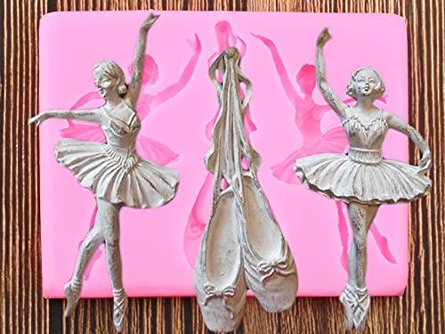 YNNN 3D Bailarín Bailarina Moldes de Silicona Ballet Zapatos Fondant Bebé Cumpleaños Pastel Decoración Herramientas Candy Clay Chocolate Gumpaste Moldes