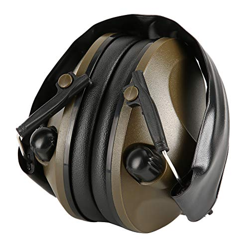 Recolección Reducción de ruido Tapones para los oídos Plegable Smart Noise Orelling Orejera Adecuado para trabajadores Tiradores Cazadores(Ejercito verde)