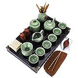 fanquare Kung Fu Servizio da Tè in Ceramica con Vassoio e Piccoli Strumenti da Tè, Cinese Set da Tè Ge Yao, Verde Chiaro