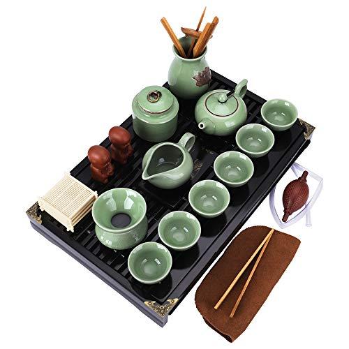 fanquare Chinesisches Keramik Kung Fu Tee Set mit Teetablett und Kleine Teewerkzeuge, Ge Yao Tee service, Grün