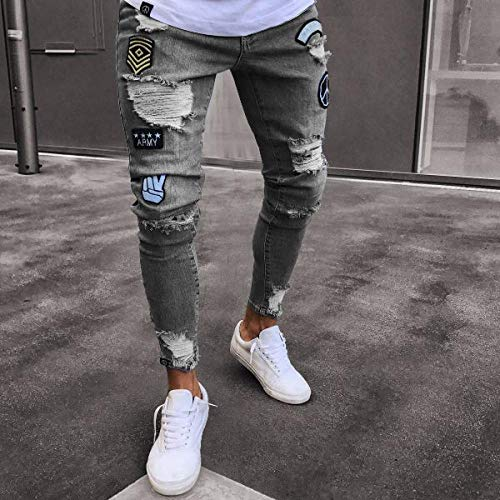Herren Ripped Skinny Biker Jeans Destroyed Frayed Print Stickerei Slim Fit Jeanshose Jean XXL Grau