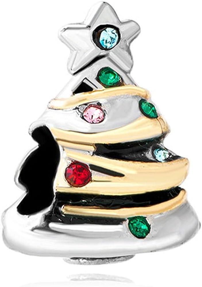 LovelyCharms Christmas Tree Charm Beads for European Bracelets