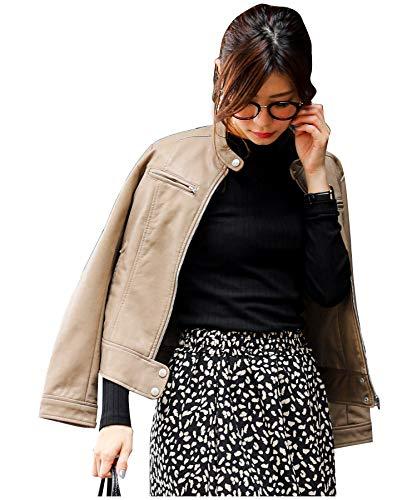 (ファッションレター) FashionLetter ライダース ジャケット レディース フェイク エコレザー バイカーブルゾン アウター y042