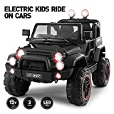 Fitnessclub Electric Cars for Kids, 12V Powered Kids Ride On Car with 2.4 GHZ Bluetooth Remote Control, LED Lights, MP3 Player, 3 Speeds (Black)