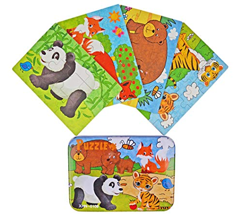 "Vileafy Jungle Animal Series Jigsaw Puzzle Sets, 4-Pack 4 Complexities, Best for 3-5 Years Old Babies to Develop Dexterity and Problem Solving, Free Iron Box for Easy Storage, 6 1/2"" X 4 1/2"""