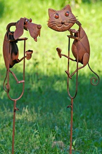 Gartenstab Pendel Figur Katze Gartendekoration