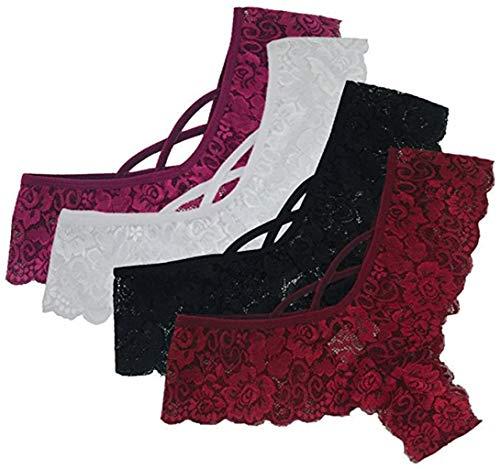 WaiMeill Sexy 4er-Pack Damen Tangas Spitze G-Strings Slips Frauen Unterwäsche Erotische Wäsche Dessous Reizunterwäsche Unterhosen (M, X-schwarz, Weiß, Winerot, Rot)
