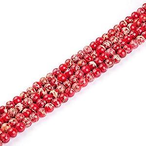 Cuentas de piedra natural de lapislázuli, ojo de tigre, amatistas rosadas, de cuarzo, redondas, sueltas, para hacer pulseras de 4 a 12 mm, rojo, 10mm about 39pcs
