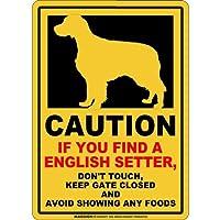 CAUTION IF YOU FIND マグネットサイン:イングリッシュセッター(スモール)イエロー 注意 DON'T TOUCH 触れない/触らない KEEP GATE CLOSED ドアを閉める 英語 防犯 アメリカンマグネットステッカー