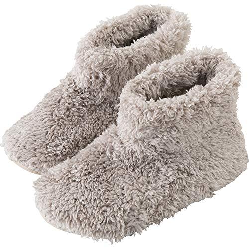 アイリスプラザ ルームブーツ Lサイズ 約 24.5 ~ 26cm ルームシューズ スリッパ もこもこ マイクロミンクファー ふわふわな肌触り 洗える グレージュ