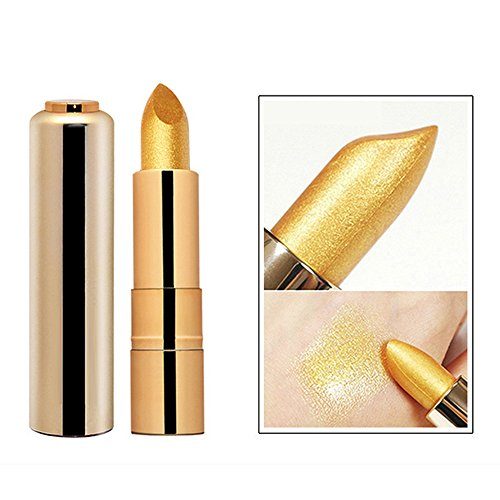 Lápiz de labios de larga duración, KanLin1986 Gold Glitter Pigment Metallic Lip Gloss Lipstick Lip Maquillaje Herramienta A