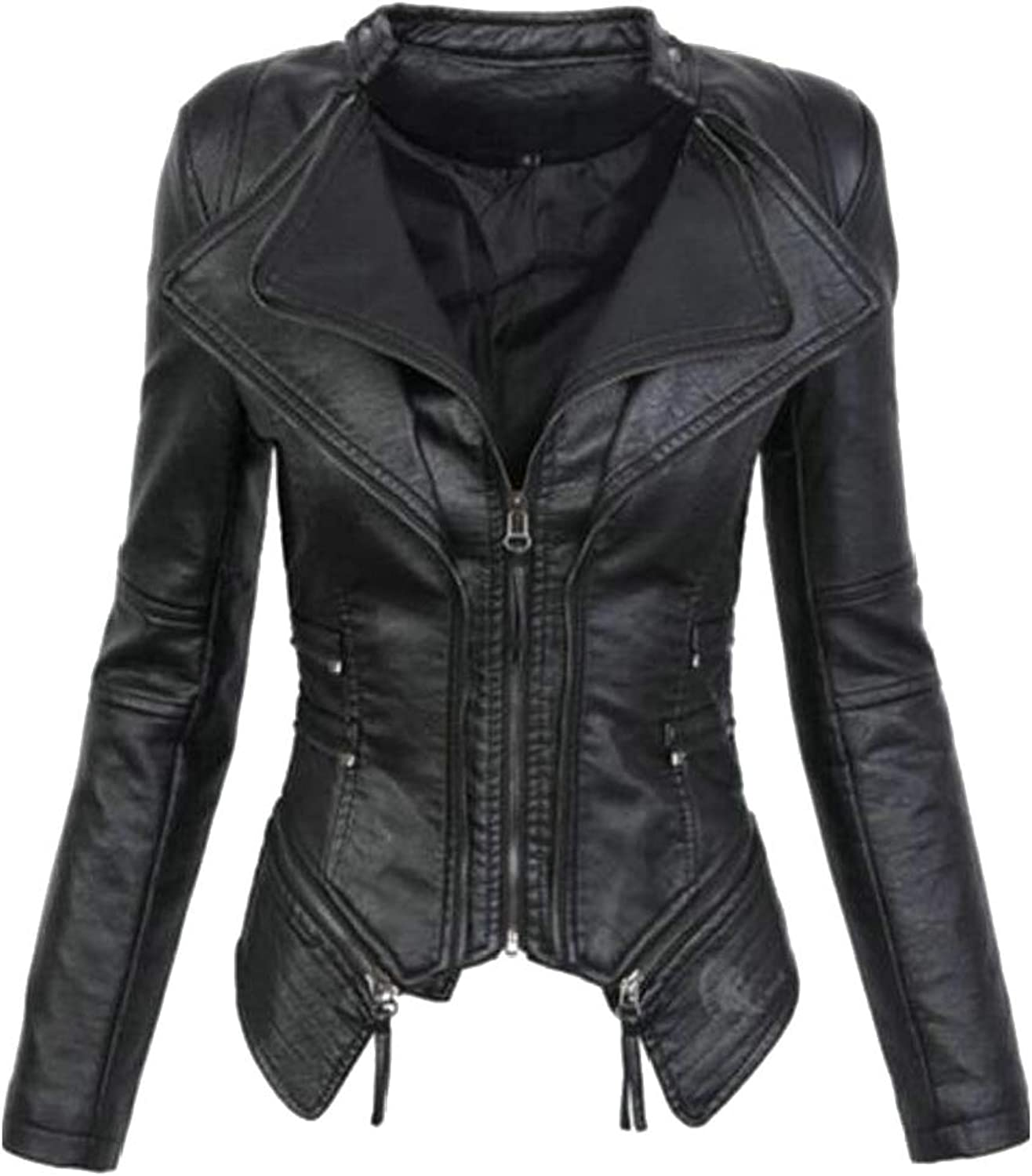 Generic Women's Studded Perfectly Shaping Solid Faux Leather Jacket
