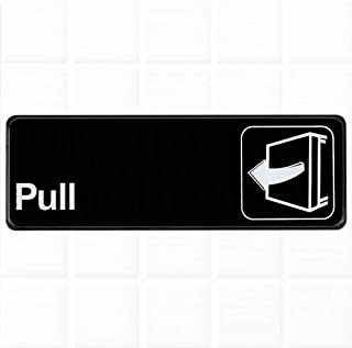 Pull Sign - Black and White, 9 x 3-inches Pull Sign for Door, Commercial Signs by Tezzorio