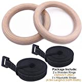 WBXNB Wood 28/32 Mm Gymnastic Ring With Adjustable Straps Crossfit Home Gym Fitness Pull-Ups Strength Training Gymnastics Equipment, Fitness Equipment (Color, 32Mm With Strap), 32Mm With Strap