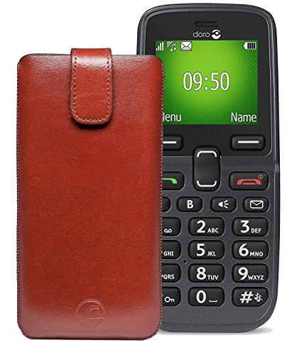 Original Favory Etui Tasche für Doro 5030 | Leder Etui Handytasche Ledertasche Schutzhülle Hülle Hülle Lasche mit Rückzugfunktion* in braun