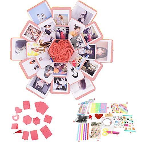 QAQGEAR Geschenkbox kreative Explosion, Liebeserinnerung DIY Foto Handgemachtes Fotoalbum als Geburtstags- und Weihnachtsgeschenk Hochzeitstag Valentinstag Vorschläge (pink)