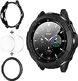 wlooo 3 in 1 Zubehör für Samsung Galaxy Watch 4 Classic 42mm 46mm, 1 TPU Schutzhülle + 2...