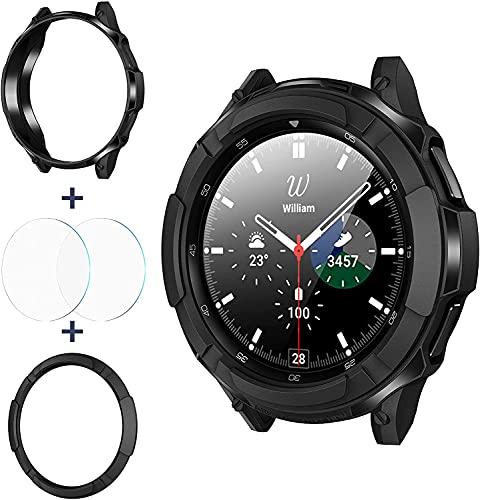 wlooo 3 in 1 Zubehör für Samsung Galaxy Watch 4 Classic 42mm 46mm, 1 TPU Schutzhülle + 2 Panzerglas Schutzfolie + 1 Lünette Ring Bezel Styling Schutz Kratzfest für Galaxy Watch4 (Schwarz, 46mm)