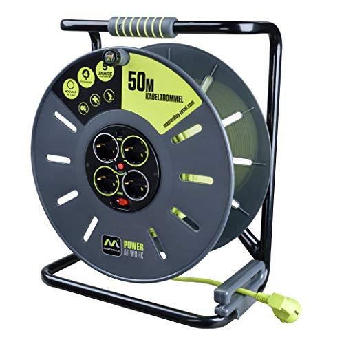 Masterplug OXLG50164SL-PX Alargador para Tambor 4 enchufes, manivela Enrollable, protección térmica e...