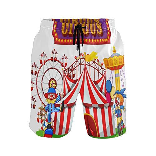 BONIPE Zwembroek voor heren, grappige Circus Clown met Ballon Quick Dry Board Shorts met trekkoord en zakken
