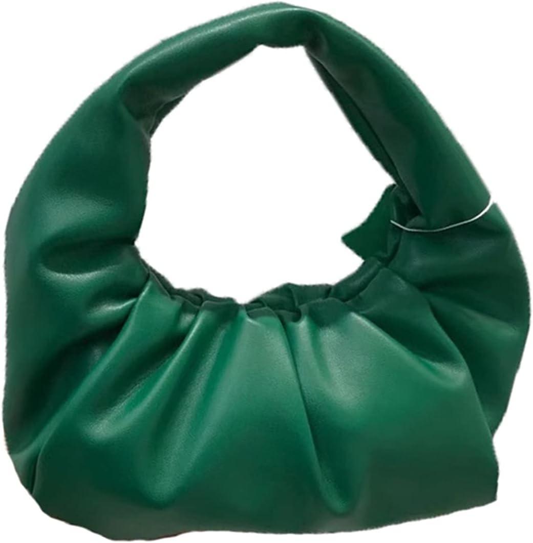 GOUHOME Womens Handbag Wrapped Pleated Shoulder Bags Underarm Cloud Dumpling Bag Large Capacity Hobo Bag Cloud Dumpling (Color : Green, Size : 24x13x24cm)