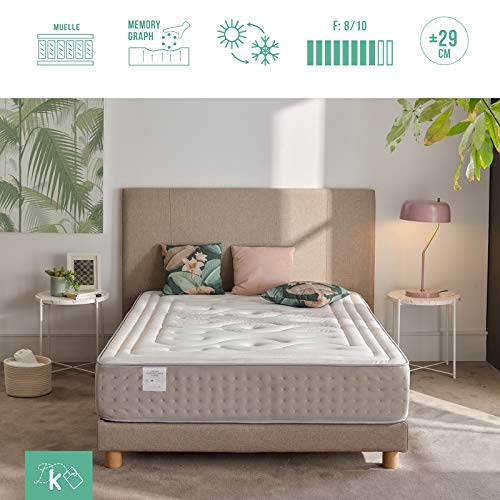 Dreaming Kamahaus Mattress Pocket Sprung Hybrid | 7-zone pocket spring mattress | BESTSELLING VISCOGRAFENO | Degree of hardness H3 | Shape memory (90x180x29cm)