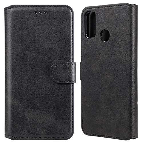 Caja del teléfono móvil para Huawei Honor 9X Lite Classic Becerta Textura PU + TPU Funda de Cuero Horizontal Flip, con Soporte y Slots de Tarjetas y Cartera (Color : Black)