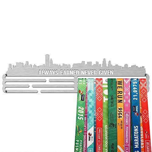 United Medals City Medalla Percha   Acero Cepillado (43cm   48 Medallas) Soporte para Medallas Deportivas