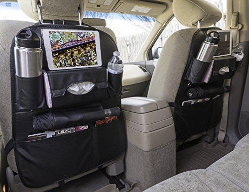 Car Seat Back Leather Organizer - Kids Toy Storage, Kick Mat, Multi-Pocket, iPhone, iPad, Cup-Bottle, Tissue Box Holder (Black, 1 Pack)