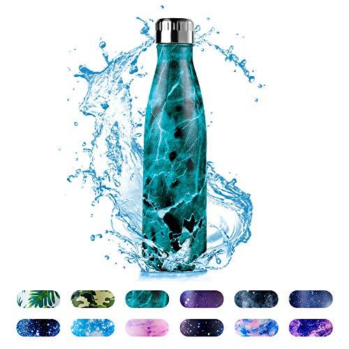 HonHike Edelstahl Trinkflasche 500ml Vakuumisolierte Wasserflasche, 24h Kühlen & 12h Warmhalten, BPA-Frei Wasserflasche, Auslaufsicher Thermosflasche für Kinder, Erwachsene - Cyan Marmorierung